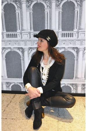 black Varese boots - black sewing DIY hat - black Oakwood leggings