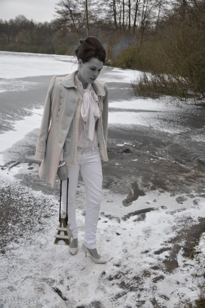 neutral Zara blazer - neutral Primark coat - off white Rock & Republic jeans