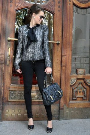 black Prada jacket - black Fendi bag - black emporio armani sunglasses