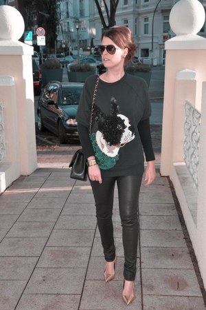 black H&M Trend sweater - black Oakwood leggings - black Chanel bag