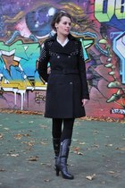 black Patrizia Pepe coat - black Belstaff boots - black Rock & Republic leggings