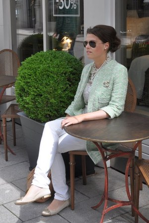 aquamarine Zara coat - white Roxk & Republic jeans - tawny Ray Ban sunglasses