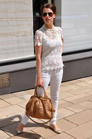 white Zara blouse - white Rock & Republic jeans - beige Marc Jacobs bag
