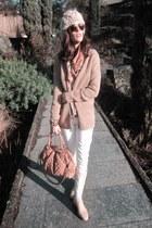 camel H&M hat - eggshell Belstaff boots - off white Rock & Republic jeans