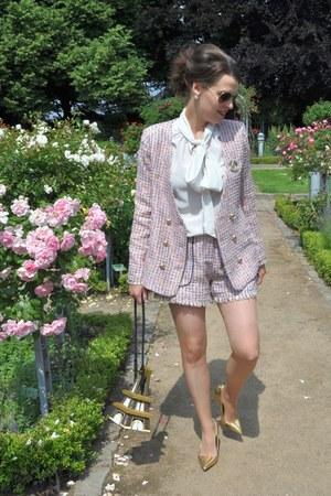 pink Sister Jane blazer - light blue LYDC LONDON bag - pink Sister Jane shorts