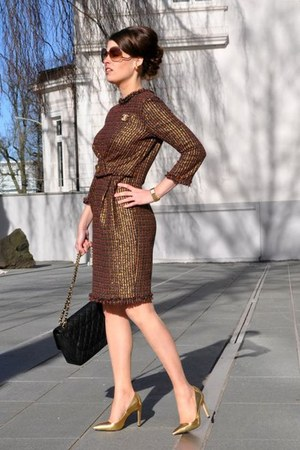 brown DiY sewing dress - black Chanel bag