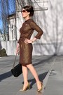 Brown-diy-sewing-dress-black-chanel-bag