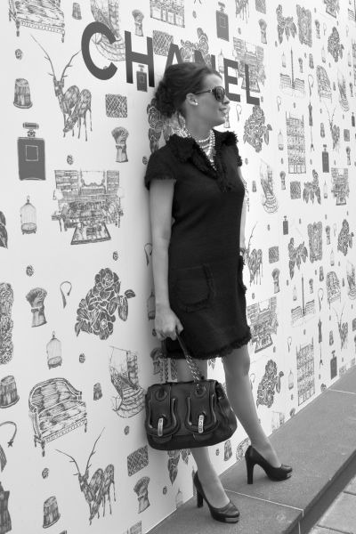 black DiY sewing dress - black Fendi bag - black Chanel sunglasses