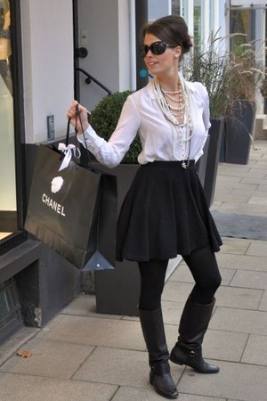 black Gucci boots - black Chanel sunglasses - off white H&M blouse
