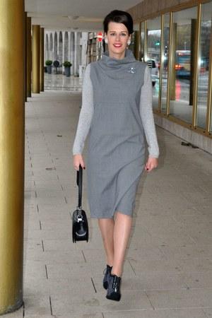 heather gray Chanel boots - heather gray ANTONELLI Firenze dress