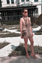 beige Roberto Cavalli for H&M dress - gold Gucci bag