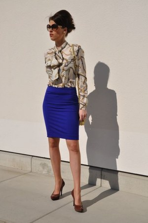 white DIY blouse - crimson Missoni sunglasses - blue H&M skirt