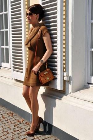 bronze vintage dress - burnt orange MCM bag - brown Victoria Beckham sunglasses