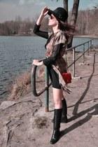 heather gray DIY vest - black Gucci boots - black Patrizia Pepe hat