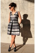 charcoal gray Chanel boots - heather gray ANTONELLI Firenze dress