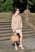camel Patrizia Pepe cape - tan Marc Jacobs bag - gold H&M earrings