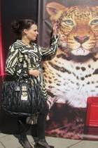 camel Roberto Cavalli for H&M coat - black H&M leggings - black Miu Miu bag