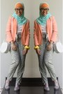 Light-orange-forever-21-blazer-aquamarine-scarf