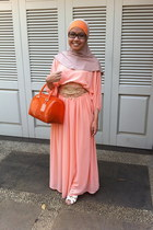 candybag Furla bag - dress - hijab scarf - the little things she needs heels