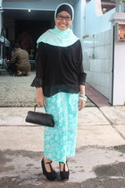 black blouse - aquamarine skirt - black wedges