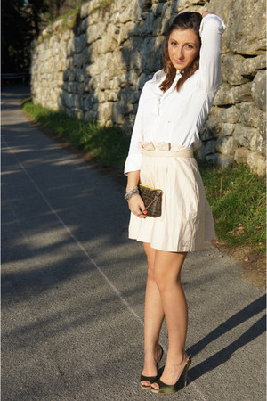 white Camiceria Baldini shirt - dark brown Fendi bag - peach Betty Blue skirt