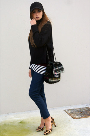 gray Chanel bag - black H&M hat - black COS cape - camel Zara heels