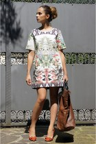 Zara dress - severe gusts italy bag - Jcrew heels