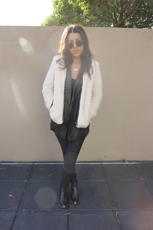 Topshop boots - Sportsgirl jacket - friend of mine vest