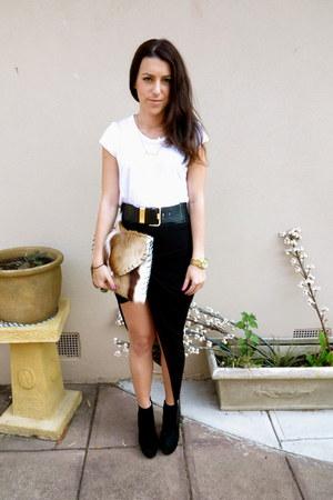 black Helmut Lang skirt - tony bianco boots - Witchery belt