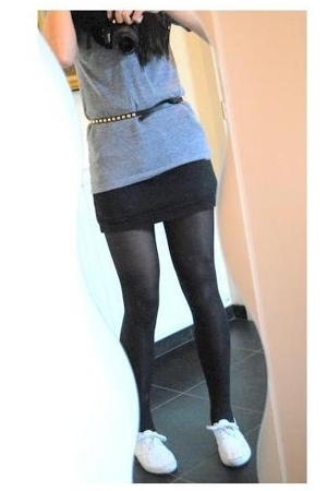 H&M scarf - vintage skirt - American Apparel t-shirt - tights - new look shoes -