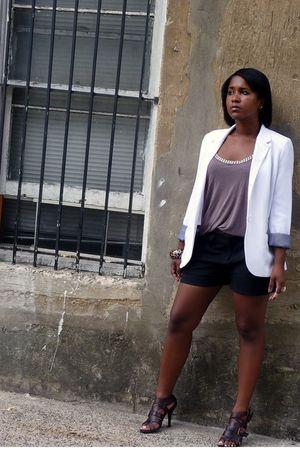 white Ambiance blazer - brown H&M shirt - black H&M shorts - brown Preview shoes