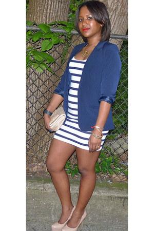white bodycon striped H&M dress - blue Free Hug blazer - gold bow Aldo bag