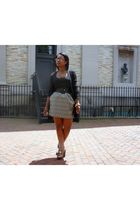 black Zinc cardigan - black H&M top - gold eight sixty skirt - gold Diba shoes -