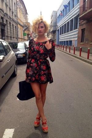 H&M dress - calvin klein bag - dune wedges