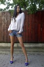 Studded-collar-zara-shirt-zara-trf-shorts-blue-zara-pumps