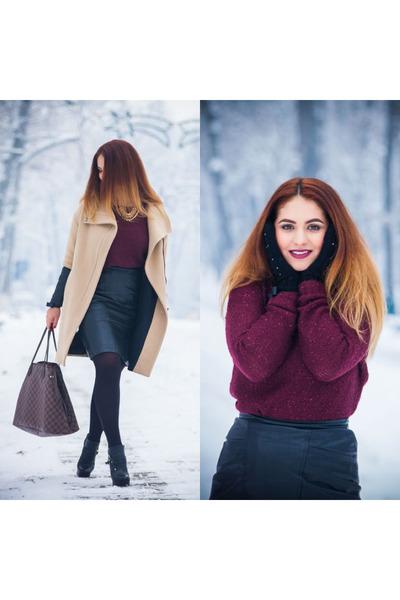 unknown brand necklace - Zara coat - New Yorker sweater - Louis Vuitton bag