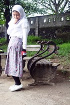 white shoes - purple my granny skirt - white missty top