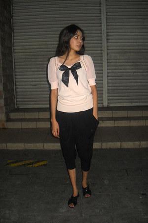 thrifted blouse - black harem thrifted pants - black studded flats