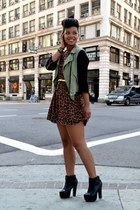 leopard dress - leather booties shoes - cargo jacket - denim vintage bag