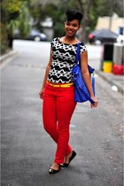 bright skinny jeans - studs bag - tribal aztec top