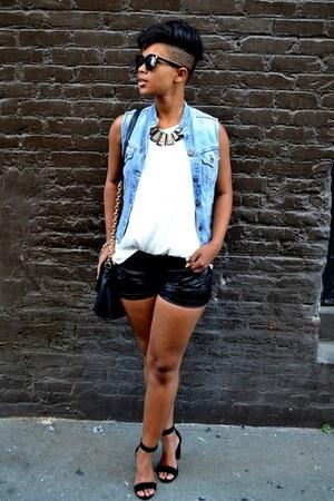 suede shoes - bag - shorts - necklace - basic classic top - Levis vest