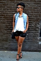 suede shoes - bag - shorts - necklace - basic classic top - Levis vest