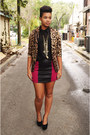 Leopard-blazer-leather-skirt-chiffon-top-suede-pumps