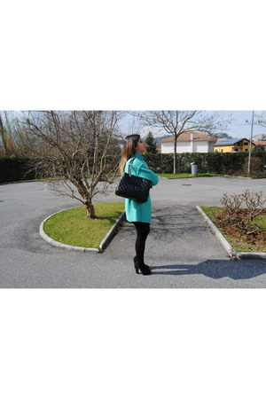 black denny rose dress - turquoise blue Sheinside coat - black Chanel bag