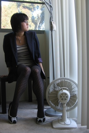 talbots blazer - hollister top - G by Guess shorts - Forever21 tights - Steve Ma