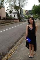 black waterfall skirt H&M skirt - blue silk bag thrifted vintage bag