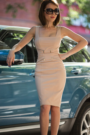 red Jimmy Choo shoes - nude Elisabetta franci dress