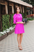 hot pink Dolce Vita dress - dark gray Anya Hindmarch bag - brown YSL sandals