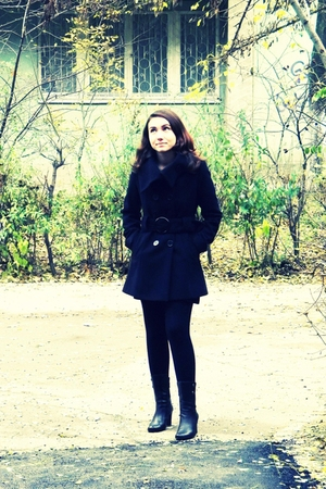 black coat - black dress - black stockings - black boots