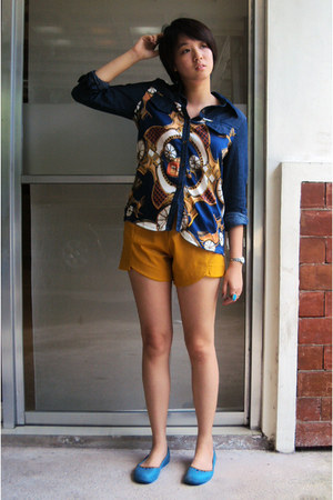 blue silk and denim top - mustard shorts - turquoise blue flats